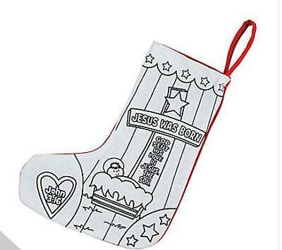 """1 Color Your Own """" Jesus was Born """" Christmas Stocking Craft Kids Gift 10"""" New"""