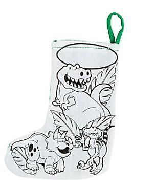 1 Color Your Own Mini Dinosaur Stocking Craft Kids Gift Green Super Cool!