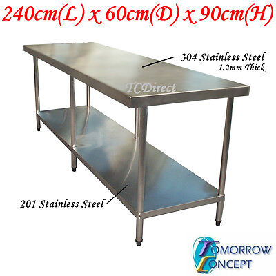 304 Stainless Steel 2400 x600 mm Work Bench Kitchen Table for Food Prep Catering