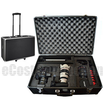 Large Hard Case w/ Wheels for Canon 5D Mark III Rebel   | Camera / Camcorder