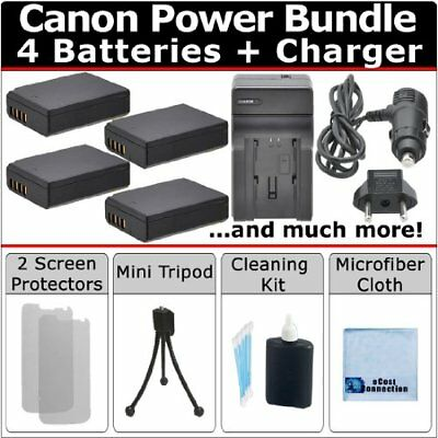 4 LP-E10 Battery + Car / Home Charger for Canon EOS REBEL T3 T5 T6 + Kit