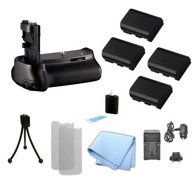 Battery Grip for Canon 60D & BGE9 Camera, 4 LPE6 / LPE6N Battery, Charger + Kit