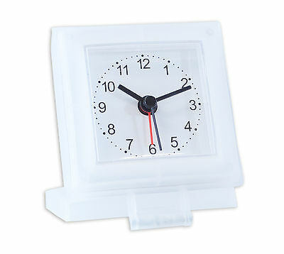 Classic Round Analogue Travel Alarm Clock with Integrated Case and Stand