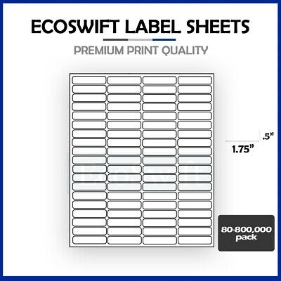 80-800,000 1 3/4 x 1/2 EcoSwift Laser Address Shipping Adhesive Labels 80/sheet