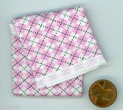 Miniature Dollhouse Blanket / White w/ Pink Squares Black lines