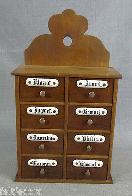 19c.ANTIQUE WOODEN SPICE CABINET WALL RACK 8 DRAWERS JARS DOVETAIL ENAMEL SIGNS