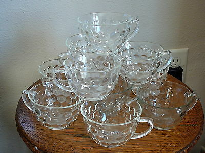 ANCHOR HOCKING FIRE KING - LOT of 11  Vintage CLEAR GLASS BUBBLE COFFEE TEA CUPS