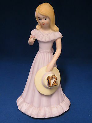 Blonde Growing Up Birthday Girls Age 12 Figurine Statue Enesco 1981 Porcelain