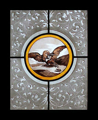Rare Painted French Eagle Antique Stained Glass Bird Window