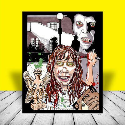 New THE EXORCIST artist signed MOVIE ART, poster, Linda Blair, Max von Sydow
