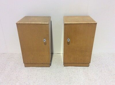 Art Deco Birds Eye Maple Pair Of Bedside Cabinets Pot Cupboards Rare To Find