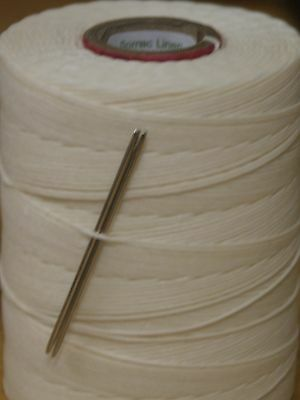 18/6  Waxed Linen Hand Sewing Thread For Leather/canvas & 2 Needles - Natural