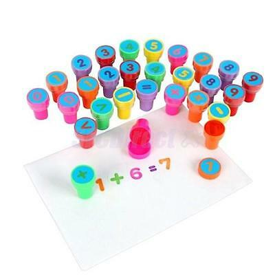 28 PC Self-Inking Plastic Stamp Number Mathematical Symbol Education Toy for Kid