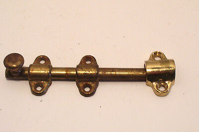 Vintage Sliding Barrel Bolt Lock Brass-plated - 4.25 inches long