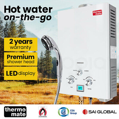 GECKO Gas Hot Water Heater - Portable Shower Camping LPG Outdoor Instant Caravan