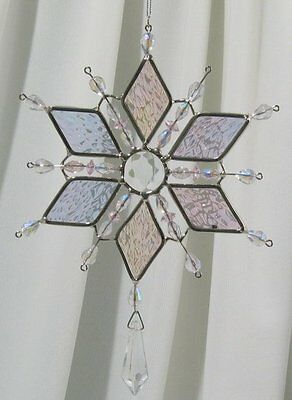 Snowflake Diamond Clear Stained Glass Suncatcher