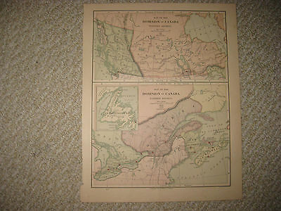Antique 1875 Dominion Of Canada Map Northwest Territory Quebec Ontario Detailed