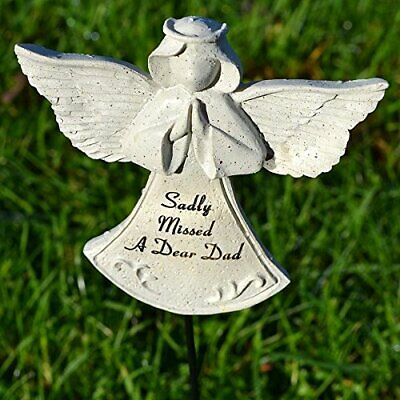 Sadly Missed Dad Guardian Angel Memorial Tribute Stick Graveside Plaque