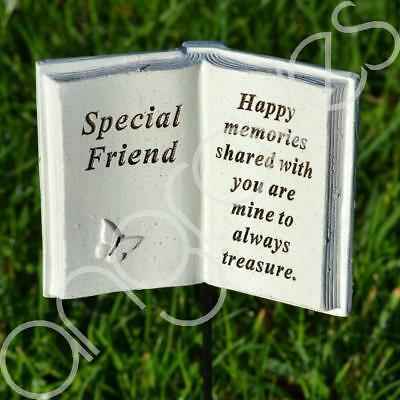 Special Friend Memorial Book Tribute Stick with Message Grave Graveside Plaque