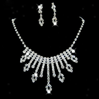Wedding Prom Bling Jewelry Set Crystal Rhinestone Necklace and Earrings