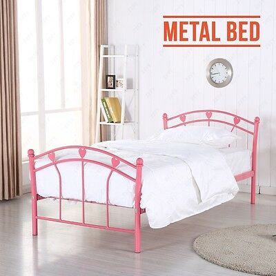 Pink Metal Bed Frame 3FT Single Size for Adults and Children