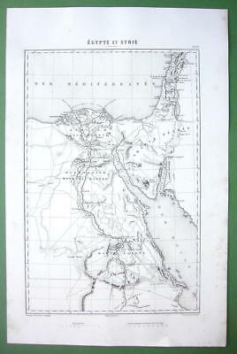 "1846 ANTIQUE MAP - EGYPT Upper Nile Sinai Israel Syria 10 x 15"" (25 x 38 cm)"