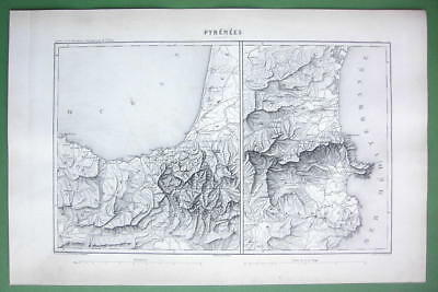 1846 ANTIQUE ORIGINAL MAP - SPAIN France Pyrenee Mountains