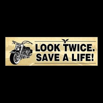 """LOOK TWICE. SAVE A LIFE!"" motorcycle BUMPER STICKER biker decal Harley-Davidson"