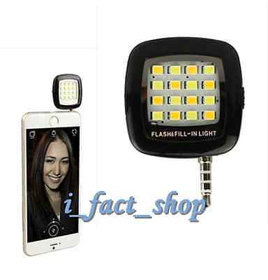 Black Phone Camera 16 LED Mini Flash Fill Light Perfect Fr iPhone&Android Mobile