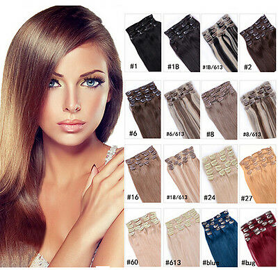 100% Remy Full Head Real Human Hair Premium Clip in Hair Extensions  7Pcs Set