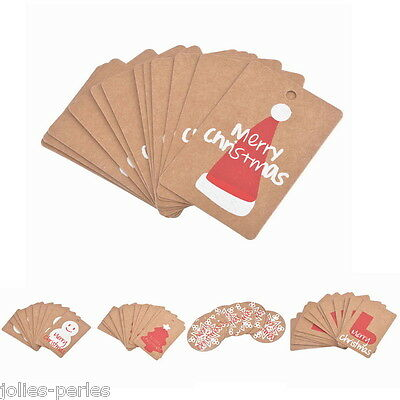 50PCs Christmas DIY Kraft Brown Gift Paper Label Price Hang Tags Cards Wedding