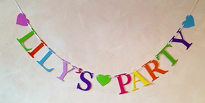 Girls Personalised Birthday Party Banner Bunting Decoration