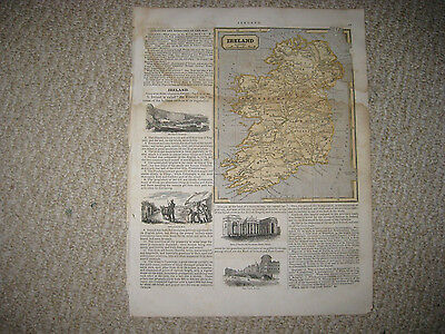 Antique 1845 Ireland Morse Map France Spain Portugal W Art Vignette Rare Fine Nr