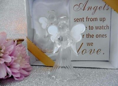 Gift Boxed Glass Praying Guardian Angel & Verse ~ Gold Or Silver~ Christening?