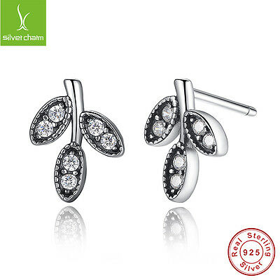 Authentic S925 Sterling Silver Earrings With Sparkling Leaves Clear CZ Earrings