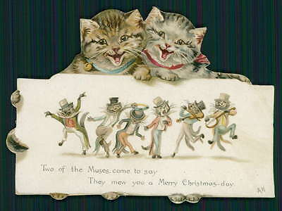 Helena Maguire minstrel show Cat Victorian Greeting Card original c1890s litho a