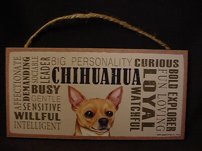 CHIHUAHUA Subway Style Dog SIGN wood WALL hanging PLAQUE tan brown puppy NEW