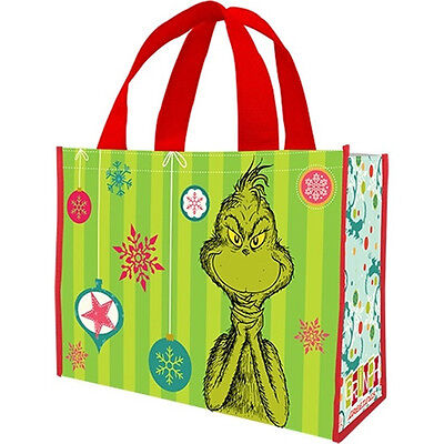 Dr. Seuss The Grinch Figure and Face Large Recycled Shopper Tote Bag, NEW UNUSED