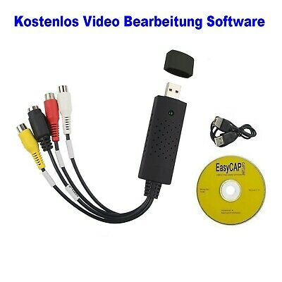 USB Audio Video Grabber Digitalisierung Videoschnitt Konverter Adapter VHS-DVD