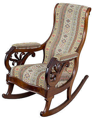 SWC-Classical Carved Mahogany Rocker, probably Boston, c.1830