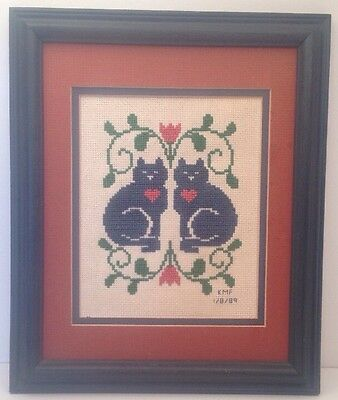 1989 Framed Needlepoint~Blue Cats And Hearts