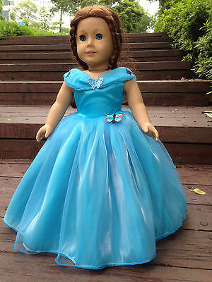"""Cinderella dress inspired by Disney's movie for American girl 18"""" Doll Clothes"""