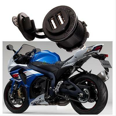 12V Waterproof  Dual USB Power Adapter Charger Socket Outlet for Car Motorcycle