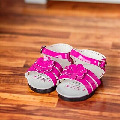 """18"""" Doll Pink Strappy Sandal Shoes +Box Fits American Girl Clothes &Accessories"""