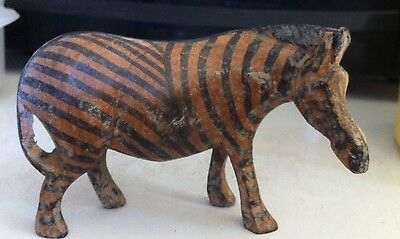 Vintage Wood Hand Carved Zebra Animal Zoo Safari Figurine Statue Collectible