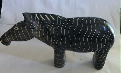 Vintage Heavy Stone Carved Zebra Animal Zoo Safari Figurine Statue Collectible