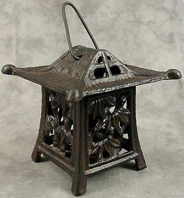 BUDDHIST Cast Iron HANGING TEMPLE CANDLE LANTERN ~GREAT FOR ZEN GARDEN~