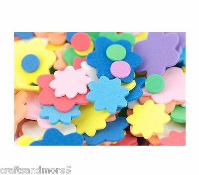 100 FOAM FLOWERS & DOTS ~ 9mm-28mm ~ GREAT FOR DECORATING CRAFTS/SCRAPBOOKING