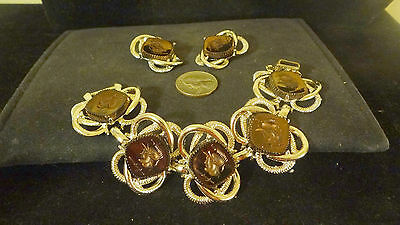 Gorgeous JULIANA Vintage Massive Chunky Bracelet Earrings set Cameo  estate