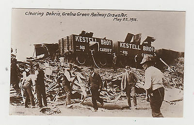 CLEARING DEBRIS,GRETNA GREEN RAILWAY DISASTER.May 22nd 1915 R,P, POSTCARDS